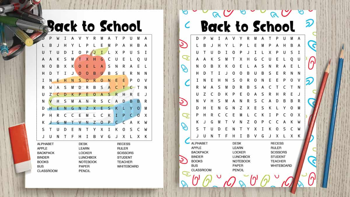 graphic relating to Free Printable Word Search for Kids identified as No cost Printable Back again toward College Term Glance (+ Option Principal
