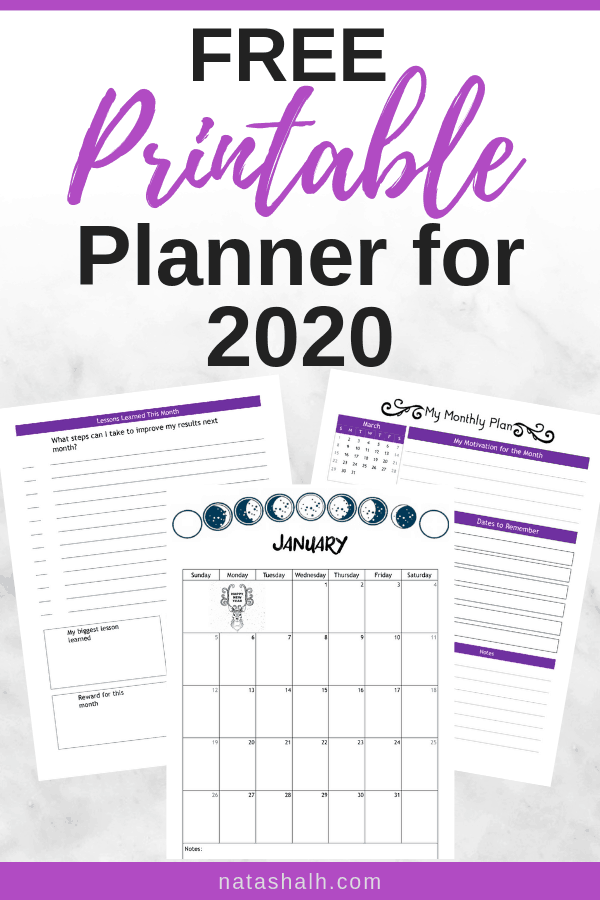 image relating to Free Printable Planners referred to as No cost Planner Printables for Your Simplest Yr 2020 2019 - The