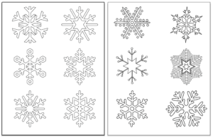 preview of 3 snowflake coloring pages