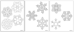 preview of 4 snowflake coloring sheets