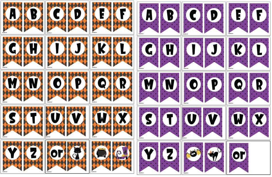 preview of printable Halloween banners (one orange and one purple)