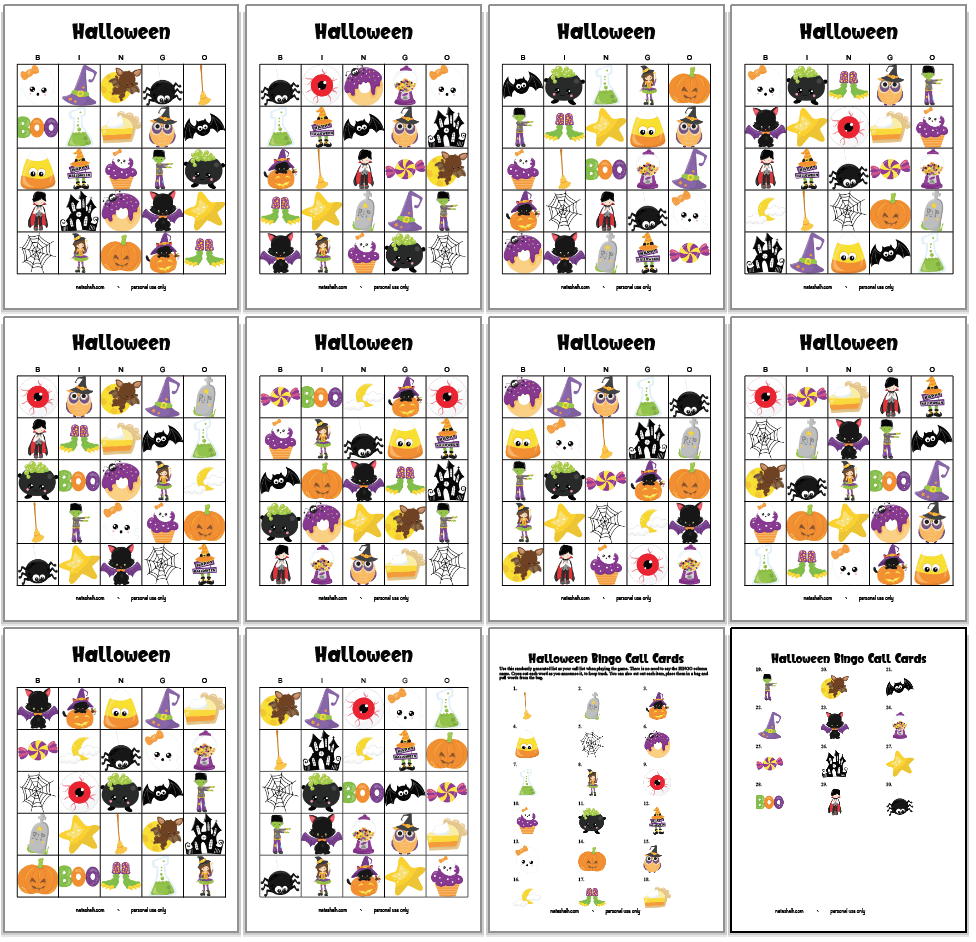 set of 10 free printable Halloween bingo cards