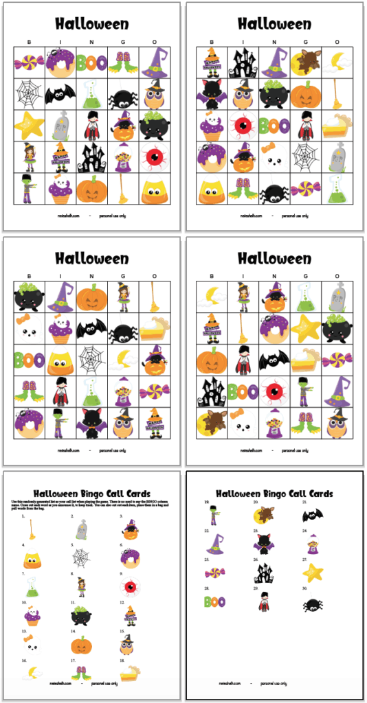 set of 4 free printable Halloween bingo cards
