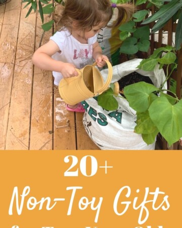 20+ Non-Toy Gifts for 2 Year Olds text overlay on top of toddler using a watering can