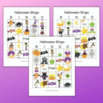 three free printable Halloween picture bingo cards on a purple background