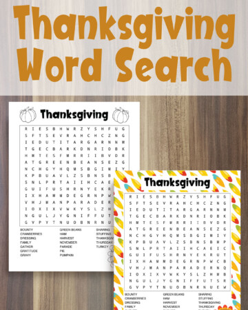 Free printable Thanksgiving word search for Canadian and American Thanksgiving