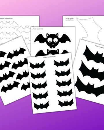"six printable bat templates on a purple background. Four bat templates are black and two are bat silhouette patterns. Bat sizes range from 3"" across to an extra large 10"" bat template."