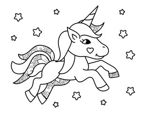 cute unicorn with stars