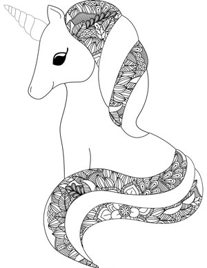 unicorn with mane and tail
