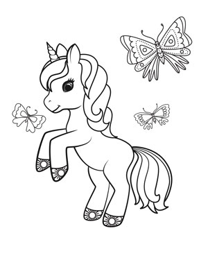 unicorn with butterflies coloring page