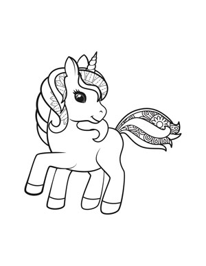 cute unicorn with flower mane coloring page