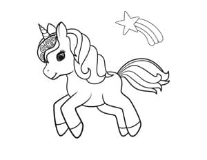 jumping unicorn with shooting star