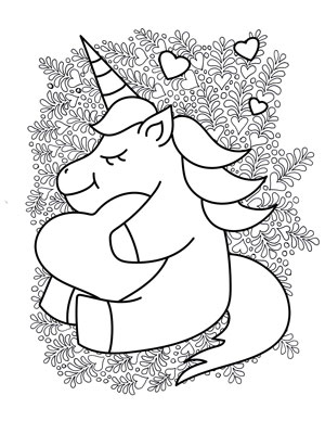 unicorn hugging a heart coloring page
