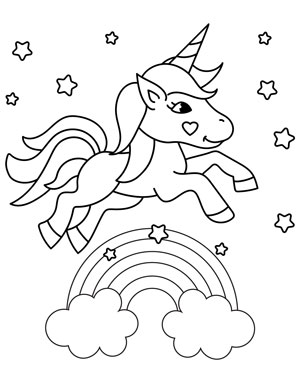 unicorn jumping over a rainbow