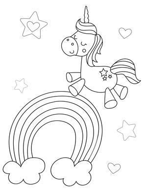 unicorn with stars and rainbows