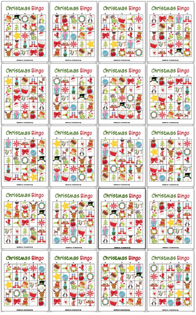20 Christmas bingo card printables