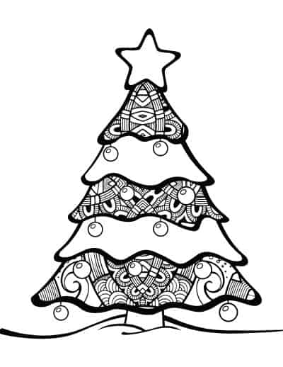 adult-coloring-page-Christmas-tree-with-ornaments