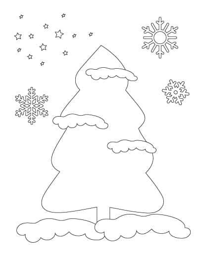 coloring-page-of-christmas-tree-with-snow-and-snowflakes