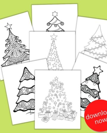 "seven free printable Christmas tree coloring pages on a green background with a red circle and the text ""download now!"""