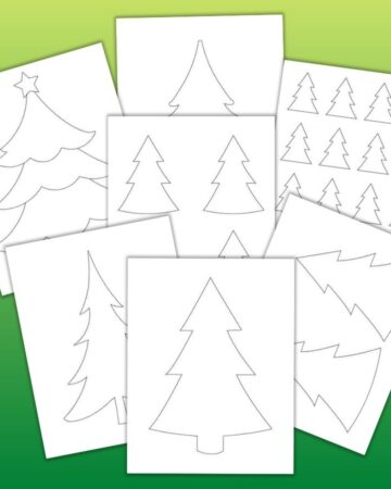 "7 printable Christmas tree templates on a green gradient background. Templates include full sized, large Christmas tree outlines that fill the whole page, medium templates two to a page, 4 Christmas tree patterns on one page, and even small 2"" high Christmas tree patterns with 16 trees on one page"