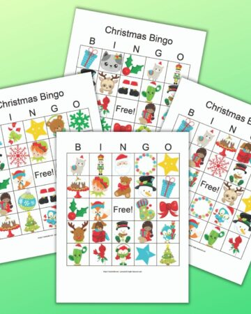 four free printable Christmas picture bingo cards with secular cartoon Christmas images on a green background
