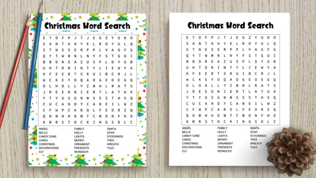 free printable Christmas word search in color and black and white