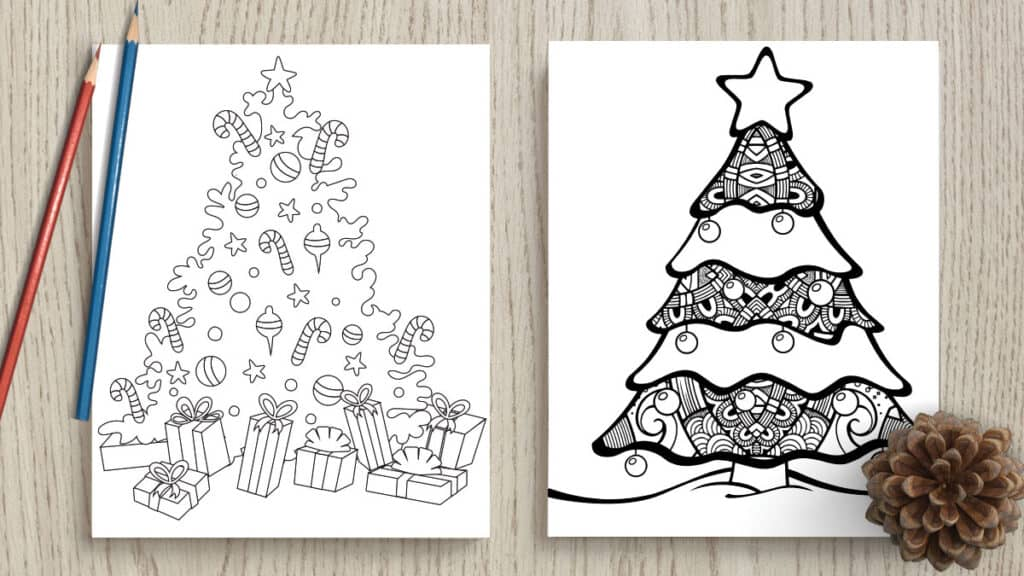 Free printable Christmas tree coloring pages for adults