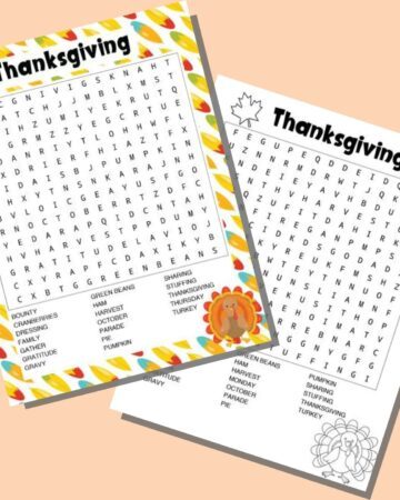 two printable Thanksgiving word searches on a peach colored background. One has a colorful feather border and has US Thanksgiving words to find. The other is in black and white with a turkey to color and has Canadian Thanksgiving words