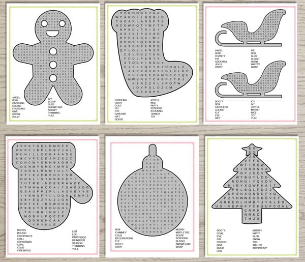 printable word searches with Christmas shapes
