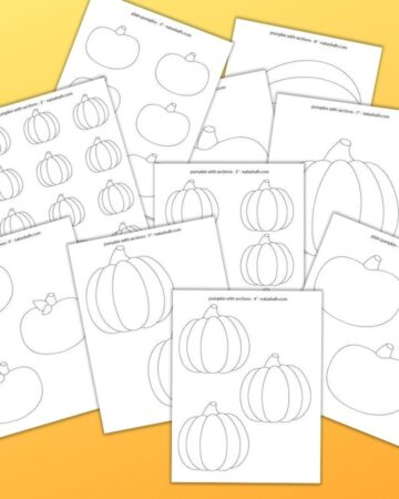 "9 printable pumpkin templates on an orange gradient background. The pumpkins range in size from 2"" up to 8"" wide."