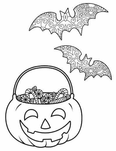 bats and candy coloring page