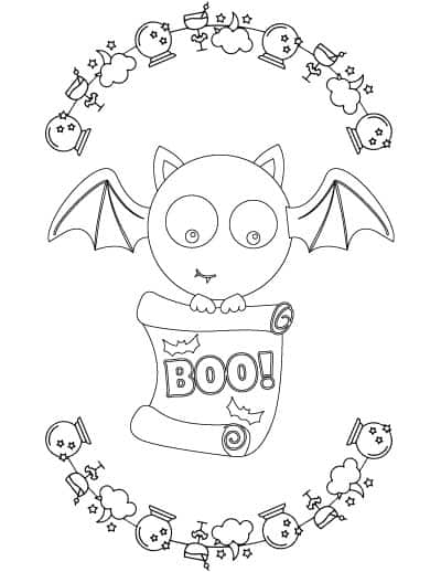 boo bat coloring page