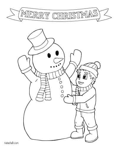 building a snowman coloring page