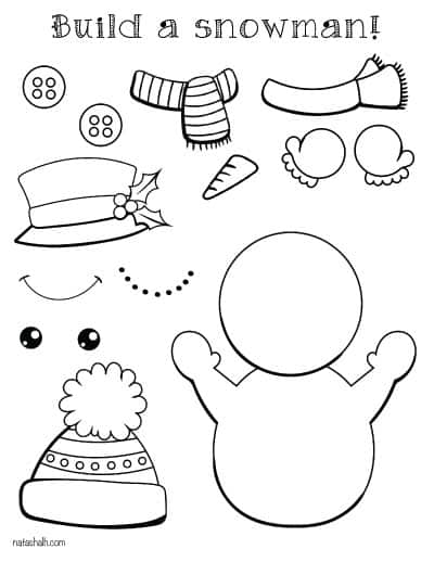 build a snowman cut and paste page