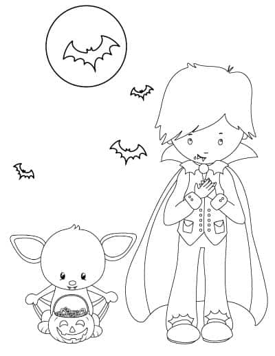 cute vampire boy with bat coloring page
