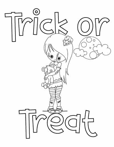 cute girl zombie trick or treat coloring page