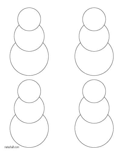 four blank snowmen templates