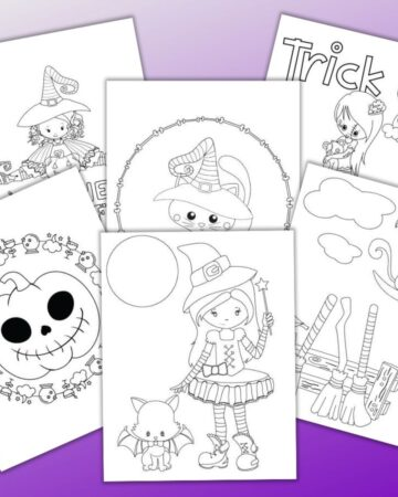 "6 printable cute Halloween coloring page printables on a purple background. A cute witch with a cat dressed as a bat is front and center. Other pages include cats, pumpkins, ""trick or treat"" and another witch"