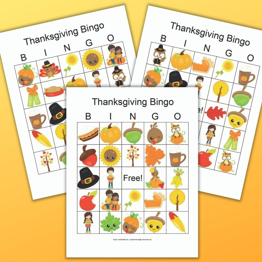 three printable Thanksgiving bingo boards featuring cute fall and Thanksgiving images on an orange background