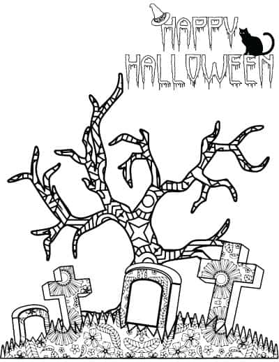 happy halloween graveyard coloring page