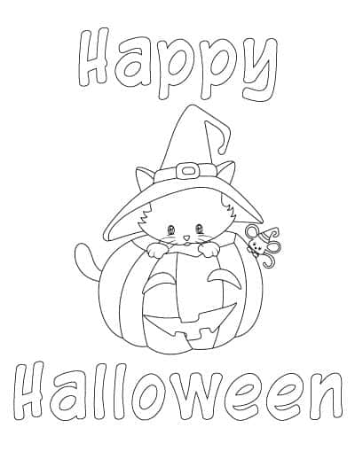 happy halloween cute cat coloring page