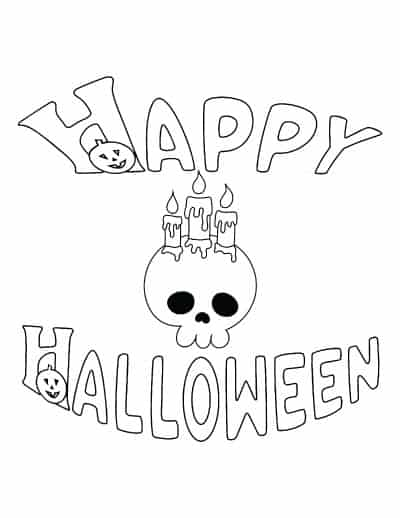 happy halloween coloring page with skull