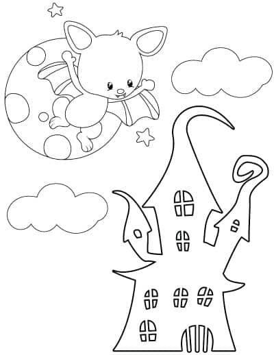haunted house with moon and bat coloring page