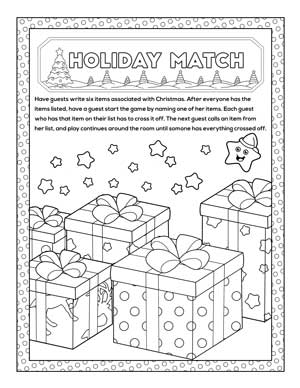 holiday match printable christmas party game