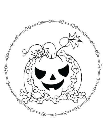 jack o lantern with bones coloring page