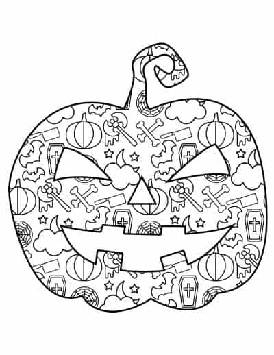 jack o lantern with pattern fill coloring page