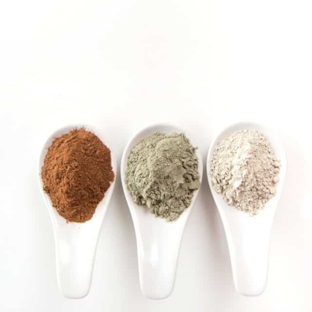 rhassoul, green, and kaolin cosmetic clays