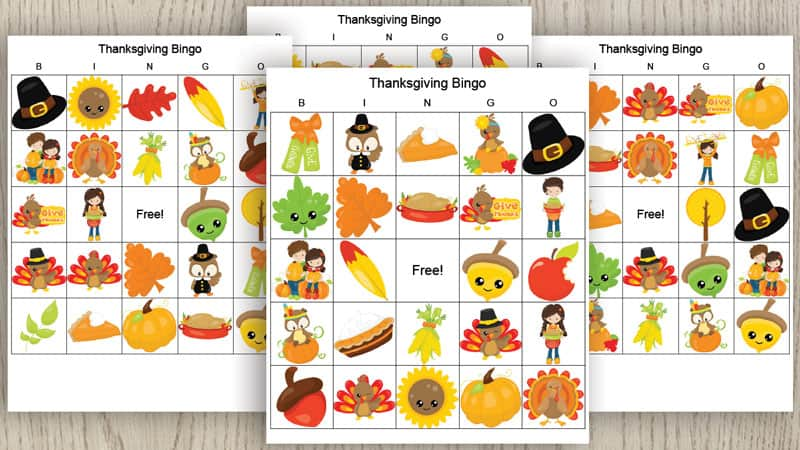 set of 4 free printable bingo cards for Thanksgiving