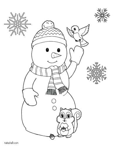 snowman coloring page with birds and snowflakes