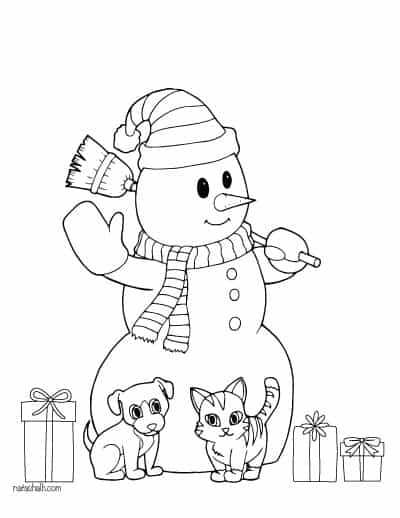 snowman with cat, dog, and presents - snowman coloring page